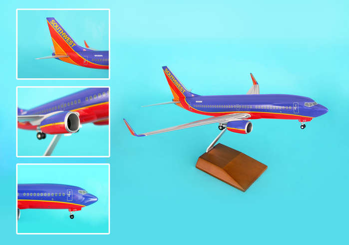 Southwest 737-700 W/Wood Stand & Gear (1:100)