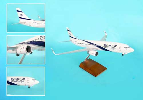 El Al 737-800 W/Wood Stand & Gear (1:100)