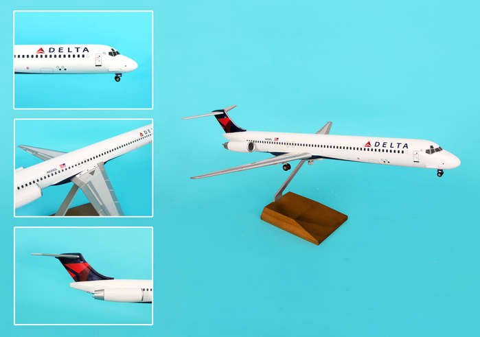 Delta MD-80 2007 Livery W/Wood Stand & Gear (1:100)