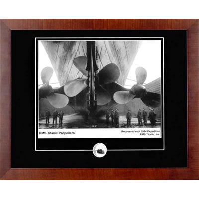 Titanic Propellers Autographed Framed Photograph with Coal Relic