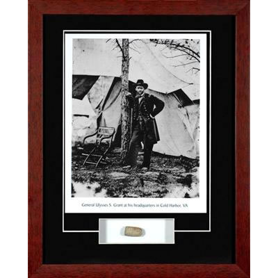 Ulysses Grant with Civil War Relic Framed Photograph