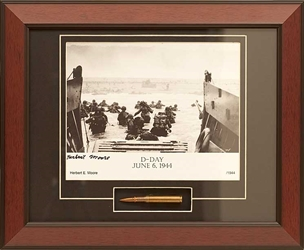 D Day Utah Beach signed by survivor Herbert Moore Framed Photograph