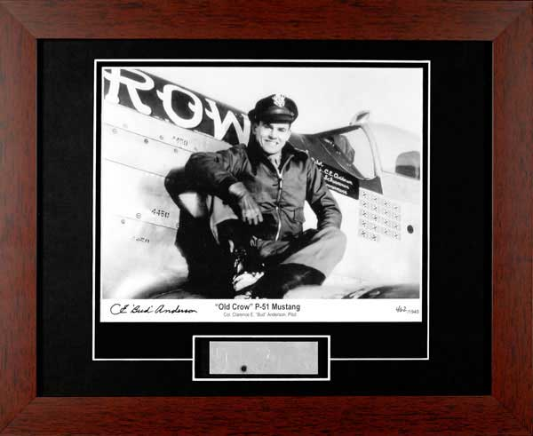 "P-51 ""Old Crow"" Bud Anderson Framed Photograph Signed with P-51 Skin"