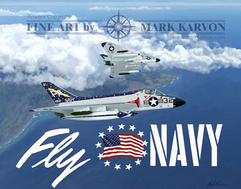 Douglas F4D-1 Skyrays of VF(AW)-3,  Fly Navy (Fine Art Print)