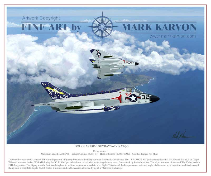 Douglas F4D-1 Skyrays of VF(AW)-3 (Fine Art Print)