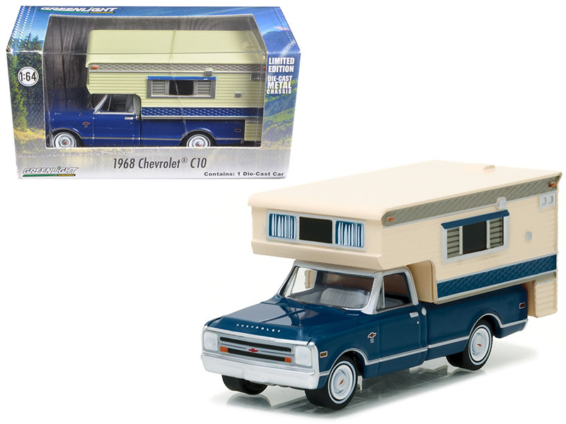 1968 Chevrolet C10 Cheyenne with Large Camper Hobby Exclusive 1/64 Diecast Model Car by Greenlight