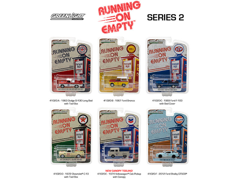 Running on Empty Series 2, 6pc Diecast Car Set 1/64 Diecast Model Cars by Greenlight