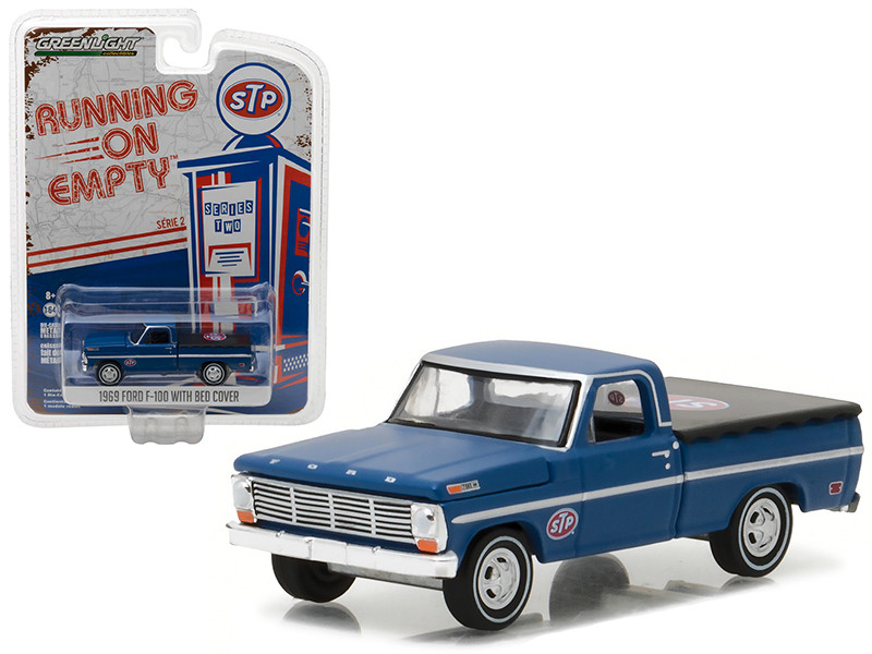 1969 Ford F-100 Pickup Truck with Bed Cover STP 1/64 Diecast Model Car by Greenlight