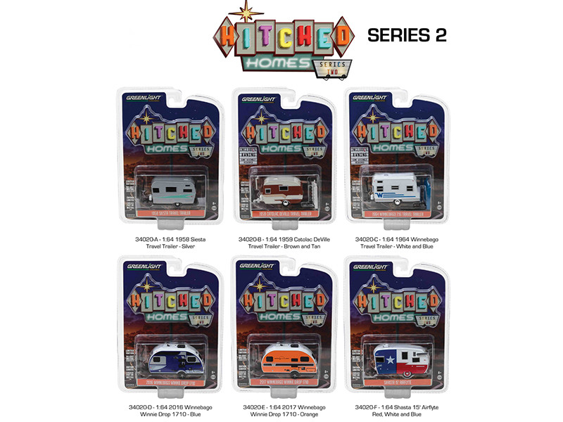Hitched Homes Series 2, 6pc Trailer Set Diecast Models 1/64 by Greenlight
