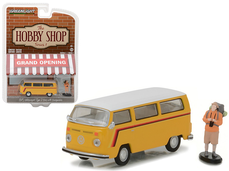 "1975 Volkswagen Type 2 Bus Yellow with Backpacker ""The Hobby Shop"" Series 1 1/64 Diecast Model Car by Greenlight"