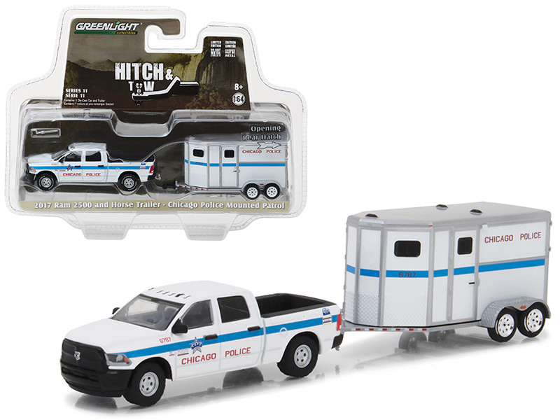 2017 Dodge Ram 2500 and Horse Trailer Chicago Police Mounted Patrol Hitch & Tow Series 11 1/64 Diecast Car Model by Greenlight