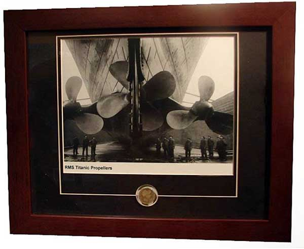 Titanic Propellers Framed Photograph with 1912 coin
