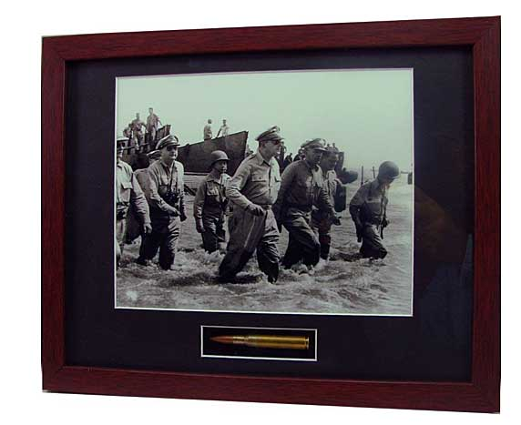 MacArthur?s Triumphant Return Framed Photograph contains M1 Garand bullet