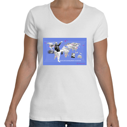 Faye Gillis Wells V Neck T-Shirt, Women Fly Item Number TS-WFFAYE