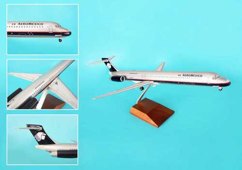Aeromexico MD-80 W/Wood Stand & Gear (1:100), Skymarks Supreme Desktop Aircraft Models Item Number SKR8603