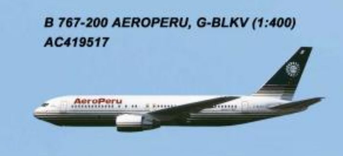 AeroPeru 767-200 G-BLKV (1:400) by AeroClassics Models Item Number: AC419517