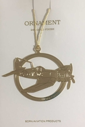 F4U Corsair Ornament, 24 Karat Gold Finish, Born Aviation Aviation Gifts Item Number OR-F4U2D