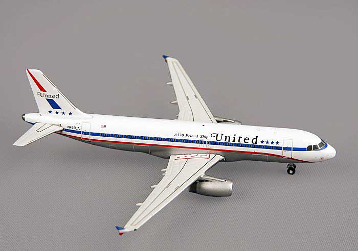 "United A320-200 ""Stars and Bars Retro Livery"" -N475U (1:400)A, GeminiJets 400 Diecast Airliners, Item Number GJUAL1061"