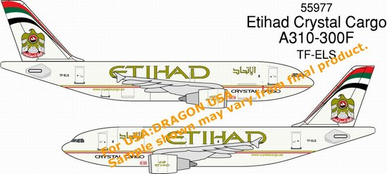 Etihad Crystal Cargo A310-300F (1:400), DragonWings 400 Diecast Airliners Item Number DRW55977
