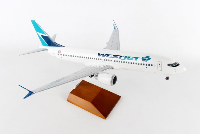 Westjet 737-MAX8 (1:100) by Skymarks Supreme Desktop Aircraft Models item number: SKR8265