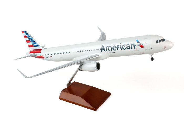 American A321 (1:100) With Wood Stand & Gear by SkyMarks Airliners Models item number: SKR8405