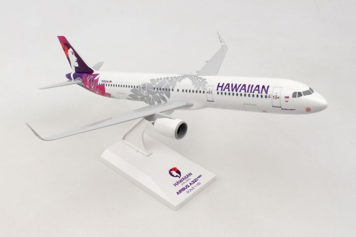 Hawaiian A321NEO W/Wood Stand & Gear (1:100) by Skymarks Supreme Desktop Aircraft Models item number: SKR8414