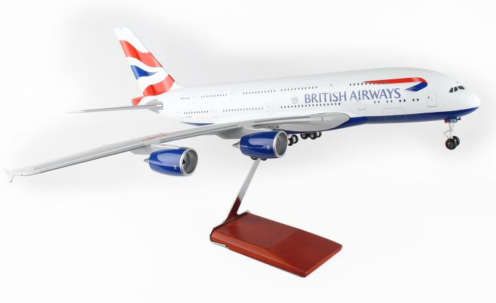 British Airways A380 With Wood Stand & Gear (1:100) by Skymarks Supreme Desktop Aircraft Models item number: SKR8504