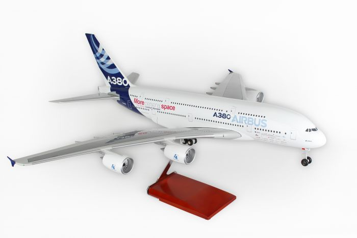 "Airbus A380-800 ""More Space"", with Wood Stand & Gear (1:100) by Skymarks Supreme Desktop Aircraft Models item number: SKR8506"