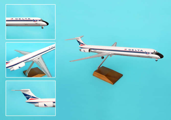 Delta MD-80 Widget Livery W/Wood Stand & Gear (1:100), Skymarks Supreme Desktop Aircraft Models Item Number SKR8602