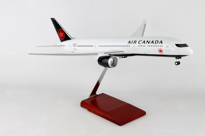 Air Canada 787-9 W/WOOD STAND & GEAR (1:100) by Skymarks Supreme Desktop Aircraft Models item number: SKR9004