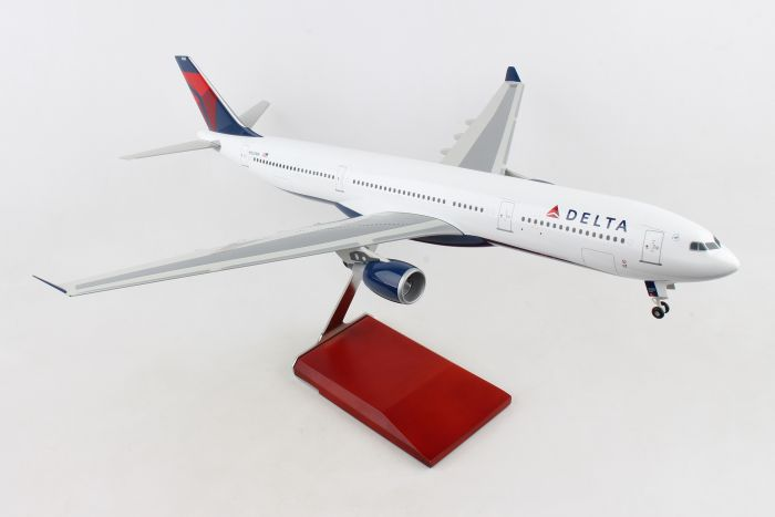 Delta A330-300 With Wood Stand & Gear 1:100 by Skymarks Supreme Desktop Aircraft Models item number: SKR9200