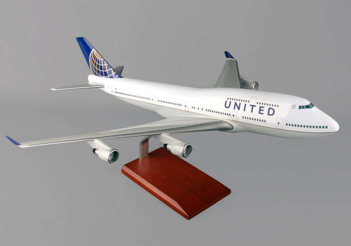 B747-400 United Post Continental Merger (1:100), TMC Pacific Desktop Airplane Models Item Number KB747CAUTR