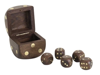 Dice Box With 5 Dices, Authentic Models Item Number GR030