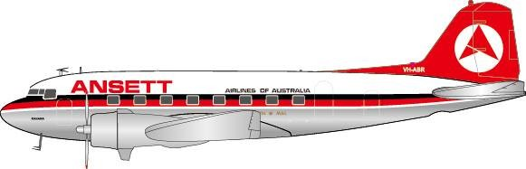 Ansett DC-3 VH-ABR Polished (1:200), JC Wings Diecast Airliners, JC2AAA527