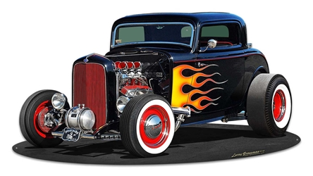 1932 Deuce Coupe Cutout Vintage Metal Sign, 30 By 16 by Vintage Sign Company item number: LGB275
