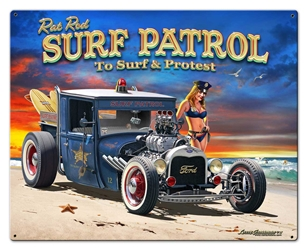 1929 Rat Rod Surf Patrol Vintage Metal Sign, 30 By 24 by Vintage Sign Company item number: LGB316