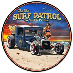 1929 Rat Rod Surf Patrol Vintage Metal Sign, 14 By 14 by Vintage Sign Company item number: LGB317