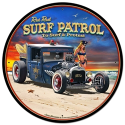 1929 Rat Rod Surf Patrol Vintage Metal Sign, 28 By 28 by Vintage Sign Company item number: LGB318