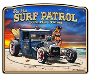 1929 Rat Rod Surf Patrol 3-D Vintage Metal Sign, 18 By 15 by Vintage Sign Company item number: LGB321