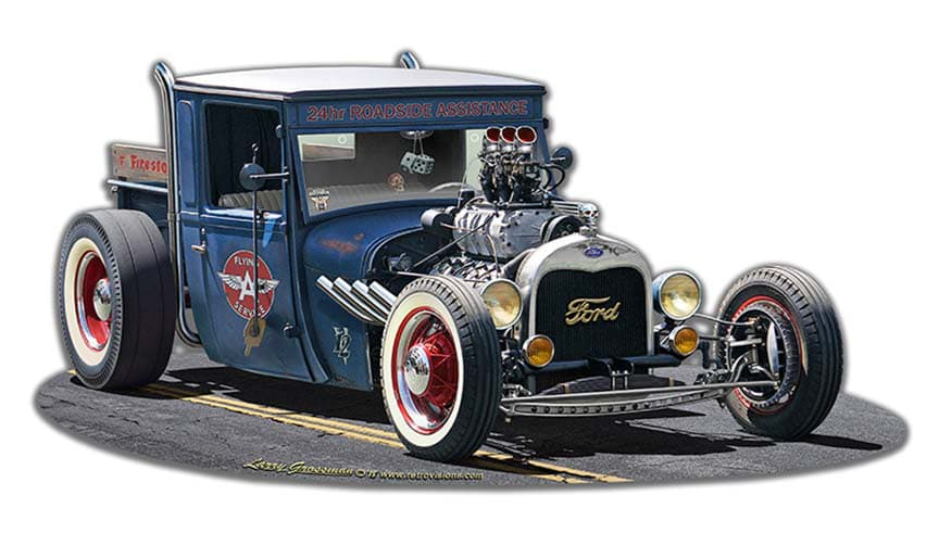 1929 Rat Rod Service Cutout Vintage Metal Sign, 18 By 9 by Vintage Sign Company item number: LGB322