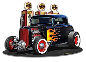 1932 Deuce Coupe Fill-Up Cutout Vintage Metal Sign, 18 By 13 by Vintage Sign Company item number: LGB342