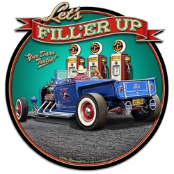 1929 Rod Pickup Fillup Vintage Metal Sign, 16 By 17 by Vintage Sign Company item number: LGB356