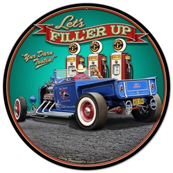 1929 Rod Pickup Fillup Vintage Metal Sign, 14 By 14 by Vintage Sign Company item number: LGB357