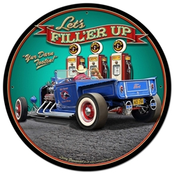 1929 Rod Pickup Fillup Vintage Metal Sign, 28 By 28 by Vintage Sign Company item number: LGB358