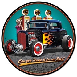 1932 Deuce Coupe Fillup Vintage Metal Sign, 28 By 28 by Vintage Sign Company item number: LGB363
