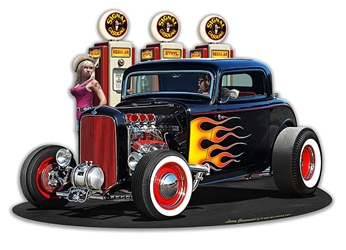 1932 Deuce Coupe Fillup Vintage Metal Sign, 18 By 12 by Vintage Sign Company item number: LGB364