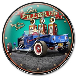 1929 Rod Pickup Fill-Up Vintage Metal Sign, 14 By 14 by Vintage Sign Company item number: LGB388