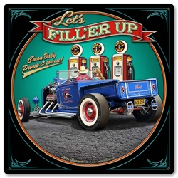 1929 Rod Pick-Up Fill-Up Vintage Metal Sign, 12 By 12 by Vintage Sign Company item number: LGB413
