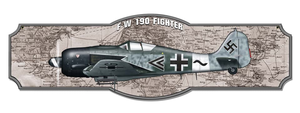 1-Fw 190 Vintage Metal Sign, 35 By 10 by Vintage Sign Company item number: SM515