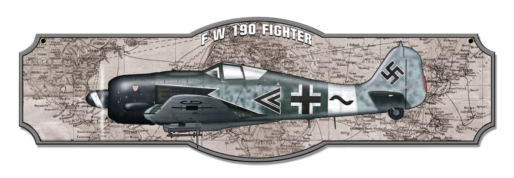 1-Fw 190 Vintage Metal Sign, 24 By 7 by Vintage Sign Company item number: SM516